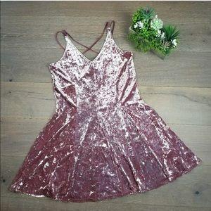 Maroon Velvet Strappy Mini Dress